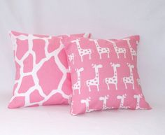"Children Kids Pillow Baby Nursery Girls Bedroom Decorative Pillows Pink Giraffe Prints 18"" x18""  2 Covers Cotton. $32.00, via Etsy."