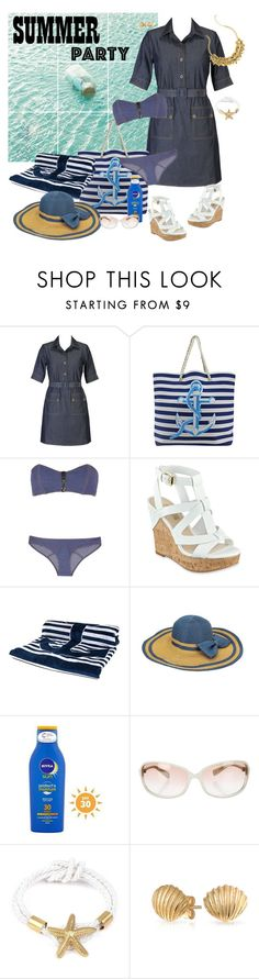 """Denim...... - Summer Party"" by selene-cinzia ❤ liked on Polyvore featuring eShakti, Lisa Marie Fernandez, GUESS, Nivea, Oliver Peoples, Bling Jewelry and Lilly Pulitzer"