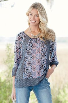Twin Print Blouse: Classic Women's Clothing from #ChadwicksofBoston $39.99
