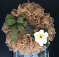 Lovely magnolia and burlap deco wreath!  :)