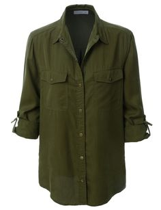 Sport this lightweight loose long sleeve tencel army shirt with your favorite jeans. A lightweight shirt jacket in olive drab mixes utilitarian styling—plenty of pockets and sleeves than can be rolled