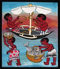 Bringing in the Fish Omary Amonde (b. 1940, Nakapanya, Tanzania) - Dar-es-Salaam, Tanzania (member of Tinga Tinga Arts Cooperative Society)....