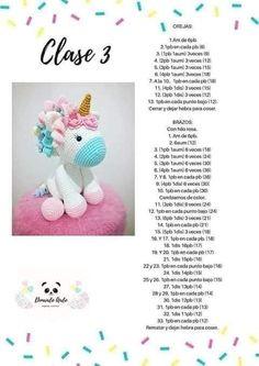 Patrón gratis amigurumi de UNICORNIO - amigurumis y más Crochet Bunny Pattern, Crochet Animal Patterns, Crochet Patterns Amigurumi, Crochet Animals, Crochet Dolls, Softie Pattern, Crochet Diy, Crochet Bear, Crochet Pour Halloween