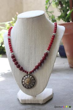 Om Mantra Pendant Necklace  Maroon and Red by Spectrakraft on Etsy, $41.00