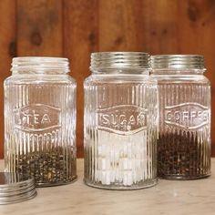 vintage pressed glass jars - I have the tea one!