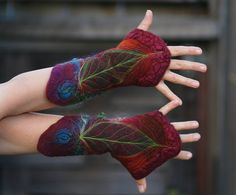 Felted Cuffs - Felted gloves - Arm warmers - Felt hand warmers  - in Vivid Sunset