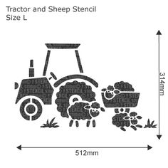 Tractor and Sheep Stencil - Buy reusable wall stencils online at The Stencil Studio