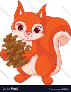 little squirrel holding a pine cone. Download a Free Preview or High Quality Adobe Illustrator Ai, EPS, PDF and High Resolution JPEG versions.