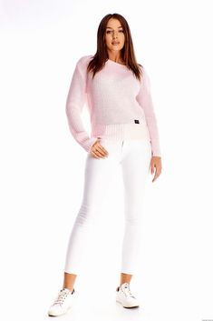 Sweter z dekoltem w łódkę -jasny róż White Jeans, Pants, Fashion, Moda, Trousers, Fashion Styles, Women Pants, Women's Pants, Fashion Illustrations