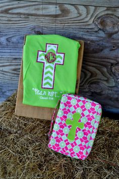 Monogram Cross Comfort Colors Shirt VINYL by embellishboutiquellc