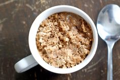 If you want to skip the chocolate, this brunch favorite-turned-mug cake does just that. A couple spoonfuls of applesauce and a sweet streusel topping makes this coffee cake just as good as any big-batch dessert. Coffe Mug Cake, Cake Mug, Coffee Cupcakes, Dessert Simple, Mug Recipes, Cooking Recipes, Casserole Recipes, Cake Recipes, Stone Wave Recipes