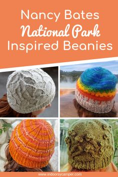 Check out Nancy Bates' National Parks Inspired knitted beanie patterns. Each knitted hat incorporates color and texture to remind you of one of our National Parks. Womans knitted hat patterns for adventurers, campers, hikers and outdoor lovers. Hiking Hat, Best Hiking Boots, Hiking Gear Women, Best Camping Gear, Camping Guide, Backpacking Gear, Backpack Camping, Camping Style, Knit Beanie Pattern