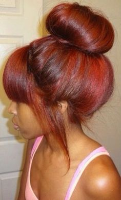 Image result for auburn hair with bangs and bun