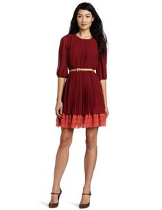 4ce68016 Jessica Simpson Women's Pleated Dress with Tiered Hem, Sun Dried Tomato, 6  at Amazon Women's Clothing store: