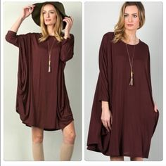 Loose Mini Tunic Dress Super soft style with side pocket details . Burgundy as shown . ️Loose fit and easy to style . Nwot please comment for personal listing DO NOT BUY THIS LISTING . Size S M L Vivacouture Tops