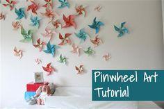 Pinwheel art installation tutorial: how to make pinwheel wall art at View Along the Way
