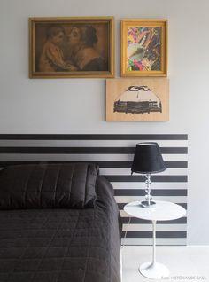 Uma cabeceira feita com papel de parede é um jeito fácil de emoldurar a cama. Veja mais desse ambiente em www.historiasdecasa.com.br #todacasatemumahistoria