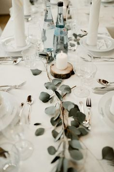 Positively Sweet Pastel German Wedding at The Waldvogel Hotel Junebug Weddings Elegant minimalist wedding reception table with greenery rustic details and candles Image by Kaley from Kansas Minimalist Wedding Reception, Wedding Reception Ideas, Elegant Wedding, Wedding Favors, Wedding Planning, Dream Wedding, Gown Wedding, Wedding Dinner, Lace Wedding