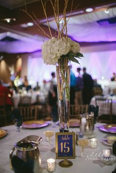 Tall centerpiece of white hydrangea and gold branches by Beautiful Blooms by Jen. Kellyn and Josh- Maumee, OH Wedding Flowers Tall Centerpiece, Centerpieces, Table Decorations, Gold Accents, Branches, Hydrangea, Wedding Flowers, Bloom, Photography