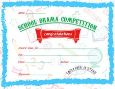 School Drama Competition Award Certificate Template For MS Word DOWNLOAD At  Http://certificatesinn