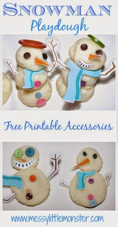 Messy Little Monster: Snowman Playdough (with free printable accessories)