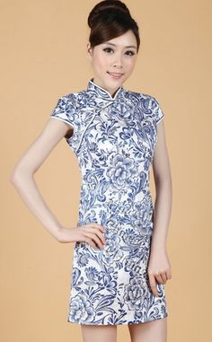 Big picture of Chinese Jacquard Cotton Mini Qipao - Qing Hua, Click to Enlarge