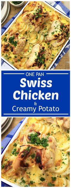 One pan swiss chicken with mustard, garlic & cream potatoes | swiss chicken
