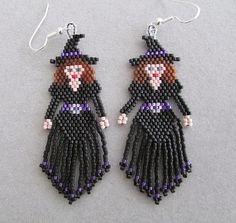 Pretty Witch Halloween Beaded Earrings by DsBeadedCrochetedEtc, $24.00