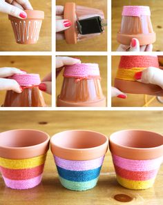 Yarn Wrapped Flower Pots