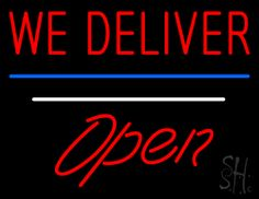 We Deliver Open White Line Neon Sign 24 Tall x 31 Wide x 3 Deep, is 100% Handcrafted with Real Glass Tube Neon Sign. !!! Made in USA !!!  Colors on the sign are Red, Blue and White. We Deliver Open White Line Neon Sign is high impact, eye catching, real glass tube neon sign. This characteristic glow can attract customers like nothing else, virtually burning your identity into the minds of potential and future customers.