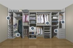 Bigger wall wall closet organisation idea. Lose the shoes to make room for accessories, belts, and make up station.