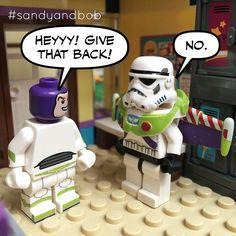 Bob bullies Buzz.  #disneyminifigures #buzzlightyear #toystory #sandyandbob #lego #minifigs #legominifig #minifigures #brickcentral  #instagram #legostagram #toyslagram #starwars #stormtrooper #sandtrooper #maytheforcebewithyou #whattheheckbob by sandyandbobsshenanigans