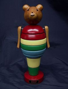 RARE Vintage 1950s BRIO Wooden Stacking TEDDY BEAR TOY