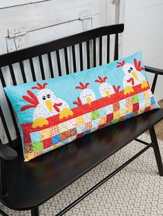 After a long summer day of pecking and scratching, this chicken family is ready for a good night's sleep under their favorite patchwork quilt. Finished size: x Kit includes pattern, precut fabric, backing and muslin. Patchwork Pillow, Patchwork Quilting, Quilted Pillow, Quilting Projects, Quilting Designs, Fall Sewing Projects, Chicken Quilt, Cute Chickens, Quilting Patterns