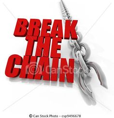 Stock Illustration - Broken chromed chain and freedom concept