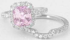Untreated Unheated Cushion Cut Pink Sapphire Engagement Ring Set  in 14k gold