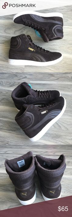 Puma hitop brown sneakers 8.5 nwt Puma hitop brown sneakers 8.5 nwt. Super cute and comfortable. Comfort soles on the inside Puma Shoes Sneakers