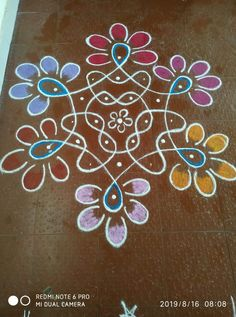 Free Hand Rangoli Design, Small Rangoli Design, Rangoli Border Designs, Rangoli Designs With Dots, Beautiful Rangoli Designs, Rangoli Borders, Rangoli Patterns, Rangoli Ideas, Simple Rangoli