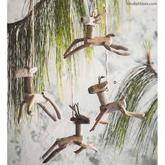 Roost Driftwood Ornaments - Reindeer - Set Of 4