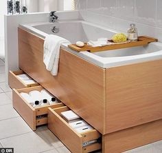 33 Inspiring Storage Ideas For Small Spaces To Maximize Your Home - If you live in a small space, what is it that you wish you had more of? We all know that storage in small spaces can be a challenge, but ther. Bath Panel Storage, Bathtub Storage, Small Bathroom Storage, Bathroom Organization, Bathroom Styling, Budget Bathroom, Laundry In Bathroom, Tiny Bathrooms, Bad Inspiration