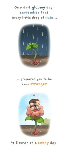 """""""I remember reading a quote that I really liked. """"""""It takes both rain and sunshine to make a rainbow"""""""" On a gloomy day, remember that rainy days brings life to everything in our world :)"""" - Hj Story Love Is Cartoon, Love Is Comic, Cute Couple Cartoon, Chibi Couple, Crazy Love, Love Is Sweet, Love Life, Love You, Hj Story"""