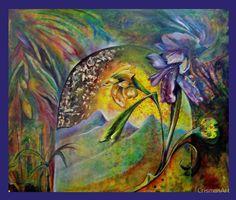 'Alpha Omega Die Zauberblume' Tapestry by CrismanArt Oil On Canvas, Canvas Art, Canvas Prints, Canvas Poster, Poster Prints, Tapestries, Wall Tapestry, Omega, Original Art