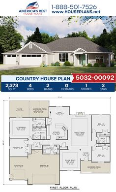 A dazzling Country home design, Plan 5032-00092 delivers 2,373 sq. ft., 4 bedrooms, 2 bathrooms, a breakfast nook, an open floor plan, and a screened-in porch. #countryhome #architecture #houseplans #housedesign #homedesign #homedesigns #architecturalplans #newconstruction #floorplans #dreamhome #dreamhouseplans #abhouseplans #besthouseplans #newhome #newhouse #homesweethome #buildingahome #buildahome #residentialplans #residentialhome