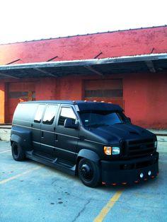 One off custom dually van built by Michael Beall in sand springs Oklahoma.