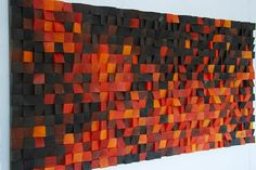 "Wood Wall Art, ""Fire"" modern wood art, new 2018 designs, wooden sound diffuser, wood sound diffusor - Holz Diy Projects Design, Wood Projects, Diy Design, Design Art, Wooden Wall Art, Wooden Walls, Wall Wood, Wal Art, Reclaimed Wood Art"