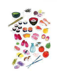 illustration of japanese food for cookbook
