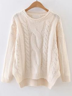 To find out about the White Cable Knit Asymmetrical Hem Sweater at SHEIN, part of our latest Sweaters ready to shop online today! Winter Sweaters, Cable Knit Sweaters, Women's Sweaters, Knitted Headband, Cardigans For Women, Knitwear, Knitting, Clothes, Bat Sleeve
