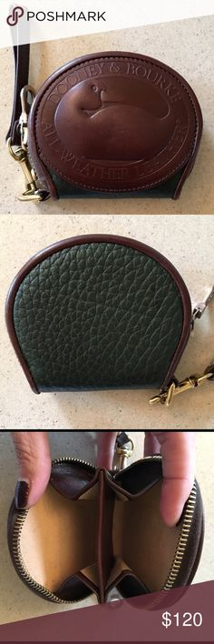 """DOONEY & BOURKE ZIP AROUND COIN PURSE Vintage DOONEY & BOURKE Zip around coin purse in the color's IVY & BURNT CEDAR. So cute and in great condition.                 Pebbled All Weather Leather Metal """"riri"""" zipper No tears, rips,stains.  Minor wear in the coin compartment. 🚫TRADES 🚫LOWBALL OFFERS Dooney & Bourke Bags Wallets"""