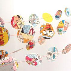 Comic book cut out circles wedding garland ideas