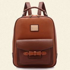 Cheap Retro British Leisure Bow Backpack Schoolbag For Big Sale!Retro British Leisure Bow Backpack Schoolbag is in no pattern, simple design but unique fashion. Lace Backpack, Striped Backpack, Backpack Bags, Leather Backpack, Cute Backpacks, Girl Backpacks, School Backpacks, Brown Backpacks, Fashion Mode